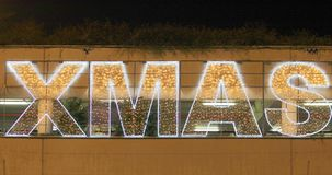 Christmas lights with XMAS text stock video footage