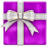 Christmas lilac gift with white ribbon and bow Stock Images