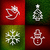 Christmas line art icons over vintage 80s background Stock Image