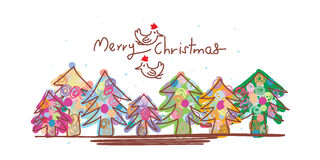 Christmas line bird xmas banner template Royalty Free Stock Images