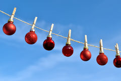 Christmas on line - Christmas baubles Stock Photos