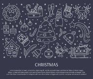 Christmas line elements. Winter holiday decorations. New Year and Christmas. Hand drawn thin line icons. Vector horizontal banner template. For posters, cards Stock Images