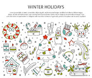 Christmas line elements. Winter holiday decorations. New Year and Christmas. Hand drawn thin line icons. Vector horizontal banner template. For posters, cards Stock Image