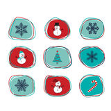 Christmas line freeform stickers. A set of Christmas orbits line freeform shape stickers, scrapbook, gift tags with snowman, tree, snowflakes and candy cane in Stock Images