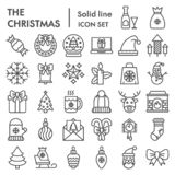 Christmas Line Icon Set, Celebration Symbols Collection, Vector Sketches, Logo Illustrations, Winter Signs Linear Royalty Free Stock Images