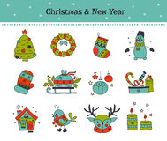 Christmas line icon set Royalty Free Stock Photography