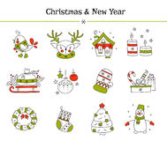 Christmas line icon set Stock Photography