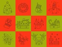Christmas line icon set Stock Photos