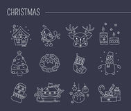 Christmas line icon set. Hand drawn thin line icons set, vector illustration. Winter holiday decorations. New Year and Christmas.  symbols, pictograms. Simple Royalty Free Stock Images