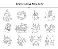 Christmas line icon set Stock Image