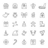 Christmas Line Icons. Collection of 25 Christmas and New Year thin line icons Royalty Free Stock Photo