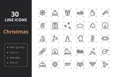30 Christmas Line Icons. High quality christmas line icons. Icons for user interfaces and web Stock Images
