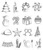 Christmas line icons set Stock Image