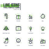 Christmas line icons Stock Photos