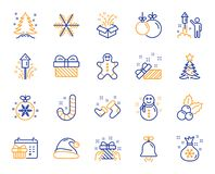 Christmas line icons. Set of Santa hat, Gingerbread man and Gift box. Vector. Christmas, New year line icons. Santa hat, Gingerbread man and Gift box icons vector illustration