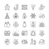 Christmas line icons. Set of Santa hat, Gingerbread man and Gift box. Vector. Christmas, New year line icons. Santa hat, Gift box and Gingerbread man icons vector illustration