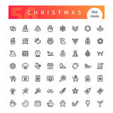 Christmas Line Icons Set Stock Images