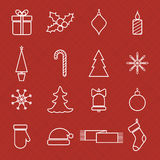 Christmas line icons set for web and holidays. Christmas line icons vector set for web and holidays design Royalty Free Stock Photos