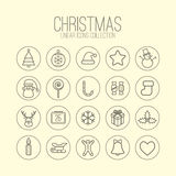 Christmas Linear Icons Stock Images