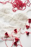 Christmas lingerie, red beads, branch of a green Christmas tree on a white background Royalty Free Stock Photos