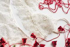 Christmas lingerie, red beads, branch of a green Christmas tree on a white background Stock Image