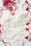 Christmas lingerie, red beads, branch of a green Christmas tree on a white background Royalty Free Stock Images