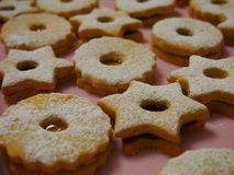 Christmas Linzer cookies close up Stock Photos