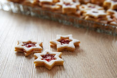 Christmas Linzer cookies on the table Stock Image