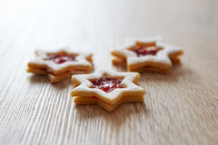 Christmas Linzer cookies on the table Stock Photo