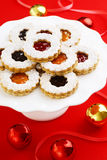Christmas Linzer Torte Almond Cookies with Preserves Stock Photos