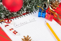 Christmas list and decoration Royalty Free Stock Image