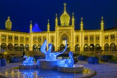 Christmas lit restaurant Nimb. In Tivoli, Copenhagen, Denmark, Europe Royalty Free Stock Images