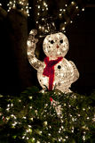 Christmas Lit Snowman Stock Images