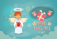 Christmas Little Angel Hold Gift Box Flat Stock Photo