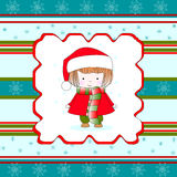 Christmas little girl. Christmas card with little girl in winter clothes decorated with winter ornaments Royalty Free Stock Photos