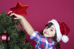 Christmas little girl Stock Images
