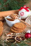 Christmas little places oatmeal Stock Image
