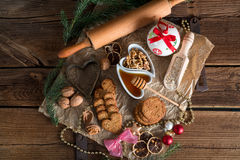 Christmas little places oatmeal Royalty Free Stock Photography