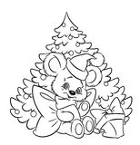 Christmas  little teddy-bear tree gift coloring pa Royalty Free Stock Photo