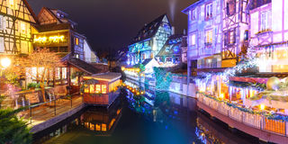 Christmas Little Venice in Colmar, Alsace, France. Panorama of traditional Alsatian half-timbered houses and river Lauch in Petite Venise or little Venice, old royalty free stock photo