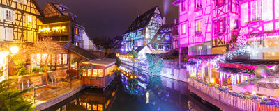 Christmas Little Venice in Colmar, Alsace, France. Panorama of traditional Alsatian half-timbered houses and river Lauch in Petite Venise or little Venice, old Royalty Free Stock Image