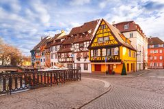 Christmas Little Venice in Colmar, Alsace, France. Traditional Alsatian half-timbered houses in Petite Venise or little Venice, old town of Colmar, decorated at Royalty Free Stock Photography