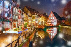 Christmas Little Venice in Colmar, Alsace, France Stock Image