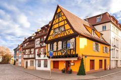 Christmas Little Venice in Colmar, Alsace, France. Traditional Alsatian half-timbered houses in Petite Venise or little Venice, old town of Colmar, decorated at Stock Photos
