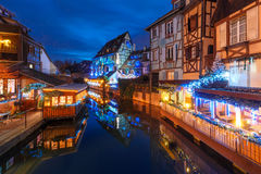 Christmas Little Venice in Colmar, Alsace, France. Traditional Alsatian half-timbered houses and river Lauch in Petite Venise or little Venice, old town of Royalty Free Stock Images
