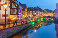 Christmas Little Venice in Colmar, Alsace, France. Traditional Alsatian half-timbered houses and river Lauch in Petite Venise or little Venice, old town of Royalty Free Stock Photo