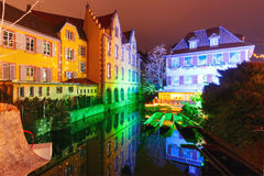 Christmas Little Venice in Colmar, Alsace, France. Traditional Alsatian half-timbered houses and river Lauch in Petite Venise or little Venice, old town of Stock Images