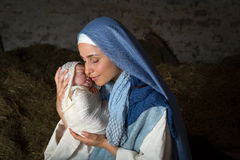 Christmas live nativity scene Stock Photography