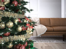 Free Christmas Living Room. 3d Rendering Royalty Free Stock Photo - 60750795