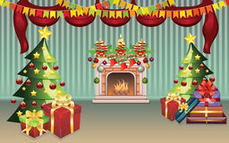 Christmas Living Room. Cartoon living room interior decorated for Christmas Royalty Free Stock Photos